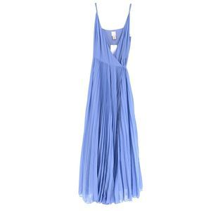 H&M Blue Accordion Pleat True Wrap Maxi Dress Sz 6